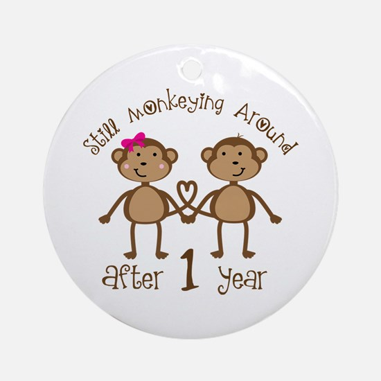 1st Anniversary Love Monkeys Ornament (Round)
