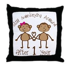 1st Anniversary Love Monkeys Throw Pillow
