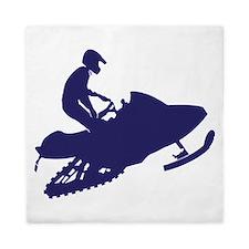 Snowmobiler/navy blue Queen Duvet
