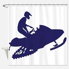 Snowmobiler/navy blue Shower Curtain