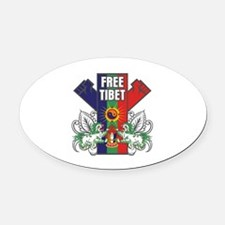 Free Tibet Dual Fists Oval Car Magnet