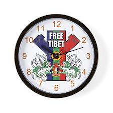 Free Tibet Dual Fists Wall Clock