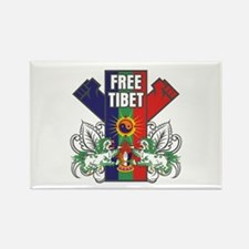 Free Tibet Dual Fists Rectangle Magnet