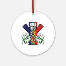 Free Tibet Dual Fists Ornament (Round)