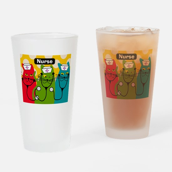 Black cats NURSES 3.PNG Drinking Glass