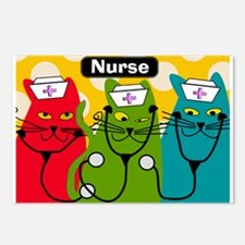 Black cats NURSES 3.PNG Postcards (Package of 8)
