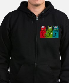 Retired Nurse Blanket CATS.PNG Zip Hoodie