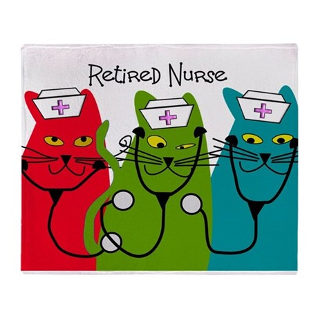 Retired Nurse Blanket CATS.PNG Throw Blanket