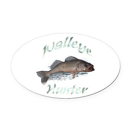 walleye hunter Oval Car Magnet