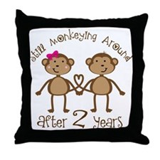 2nd Anniversary Love Monkeys Throw Pillow