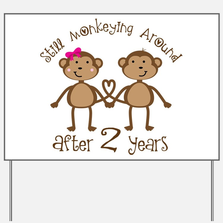 2nd Anniversary Love Monkeys Yard Sign