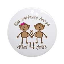 4th Anniversary Love Monkeys Ornament (Round)