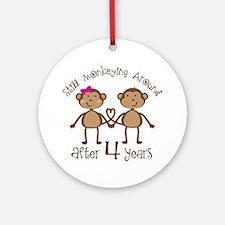 4th Anniversary Love Monkeys Ornament (Round)
