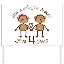 4th Anniversary Love Monkeys Yard Sign