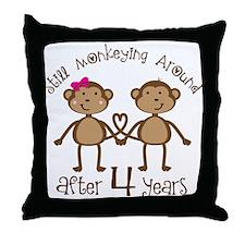 4th Anniversary Love Monkeys Throw Pillow