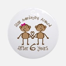 6th Anniversary Love Monkeys Ornament (Round)