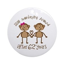 62nd Anniversary Love Monkeys Ornament (Round)