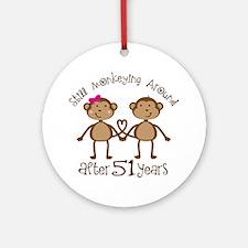 51st Anniversary Love Monkeys Ornament (Round)