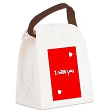 I Miss You Heart Valentines Day Red Canvas Lunch B