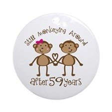59th Anniversary Love Monkeys Ornament (Round)