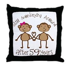 59th Anniversary Love Monkeys Throw Pillow