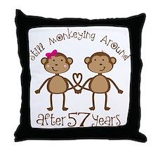 57th Anniversary Love Monkeys Throw Pillow