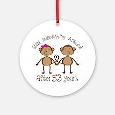 53rd Anniversary Love Monkeys Ornament (Round)