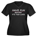 Have fun Women's Plus Size V-Neck Dark T-Shirt