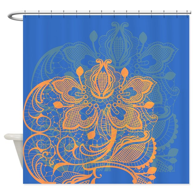 Orange And Blue Lace Shower Curtain By GlamourGirls2
