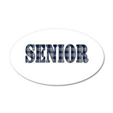 Blue Plaid Pattern Senior Wall Decal