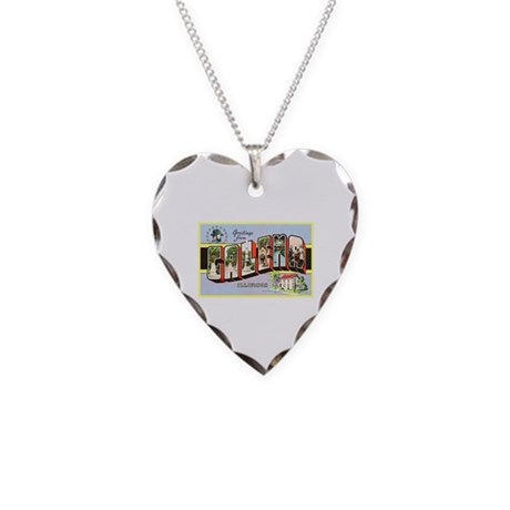 Galena Illinois Greetings Necklace Heart Charm