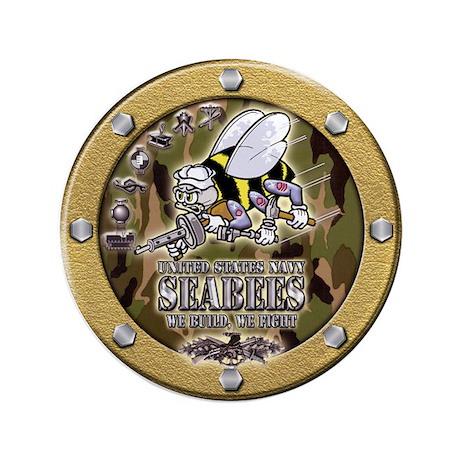 "US Navy Seabees Porthole Camo 3.5"" Button"