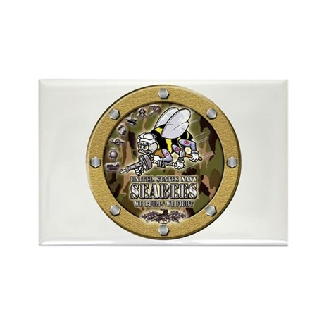 US Navy Seabees Porthole Camo Rectangle Magnet (10