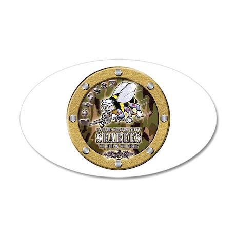 US Navy Seabees Porthole Camo 35x21 Oval Wall Deca