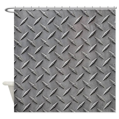 Diamond Plated Steel Shower Curtain