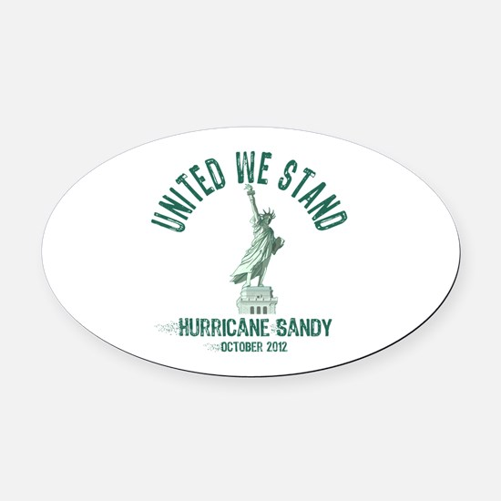 Hurricane Sandy Statue Oval Car Magnet