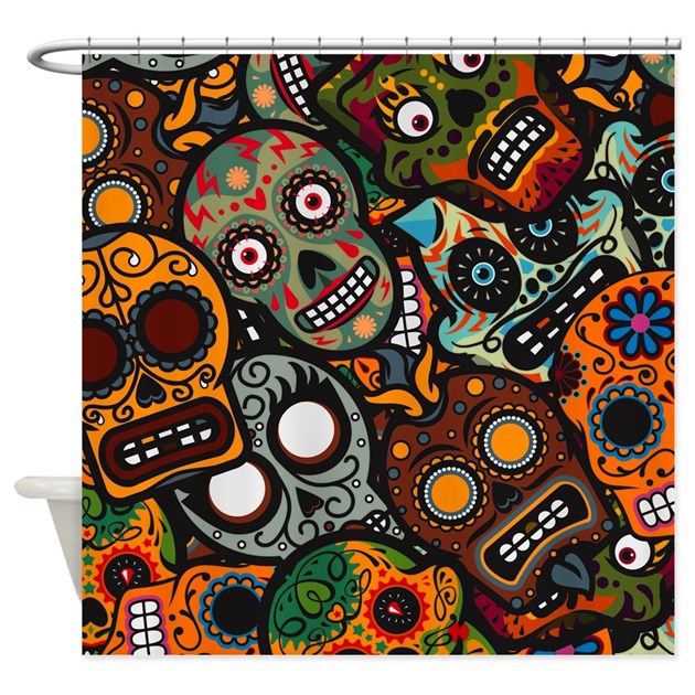 Day Of The Dead Bathroom Set: Day Of The Dead Shower Curtain By Highaltitudes3
