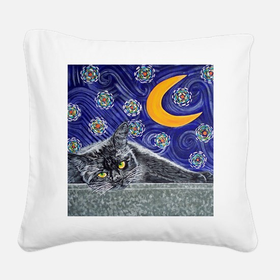 Starry night black cat Square Canvas Pillow