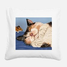Catnapping Square Canvas Pillow