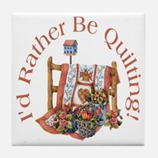 Rather Be Quilting Tile Coaster