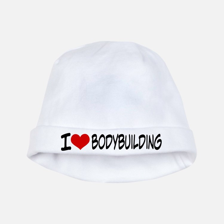 I Heart Bodybuilding baby hat