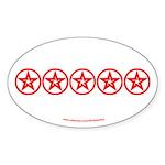 Pentagram Red As Above Oval Sticker