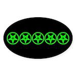 Pentagram Green So Below Dark Oval Sticker