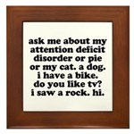 Funny My ADD Quote Framed Tile