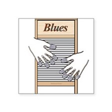 "Washboard Blues Playing Square Sticker 3"" x 3"""