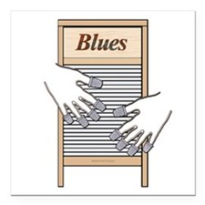 "Washboard Blues Playing Square Car Magnet 3"" x 3"""