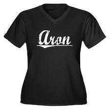 Aron, Vintage Women's Plus Size V-Neck Dark T-Shir