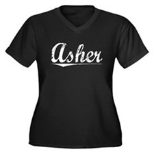 Asher, Vintage Women's Plus Size V-Neck Dark T-Shi