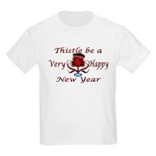 Red tartan thistle new year T-Shirt
