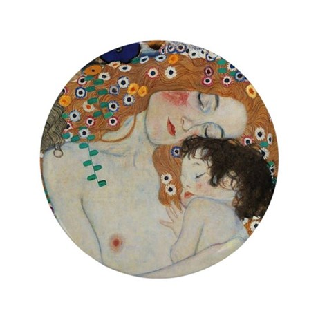 """Mother and Child by Gustav Klimt 3.5"""" Button"""